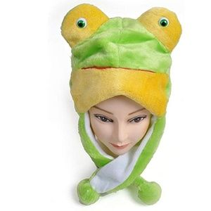 Animal Fleece Hat - Green Frog